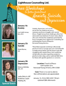 Free Suicide Awareness Workshop, January 23rd 2018