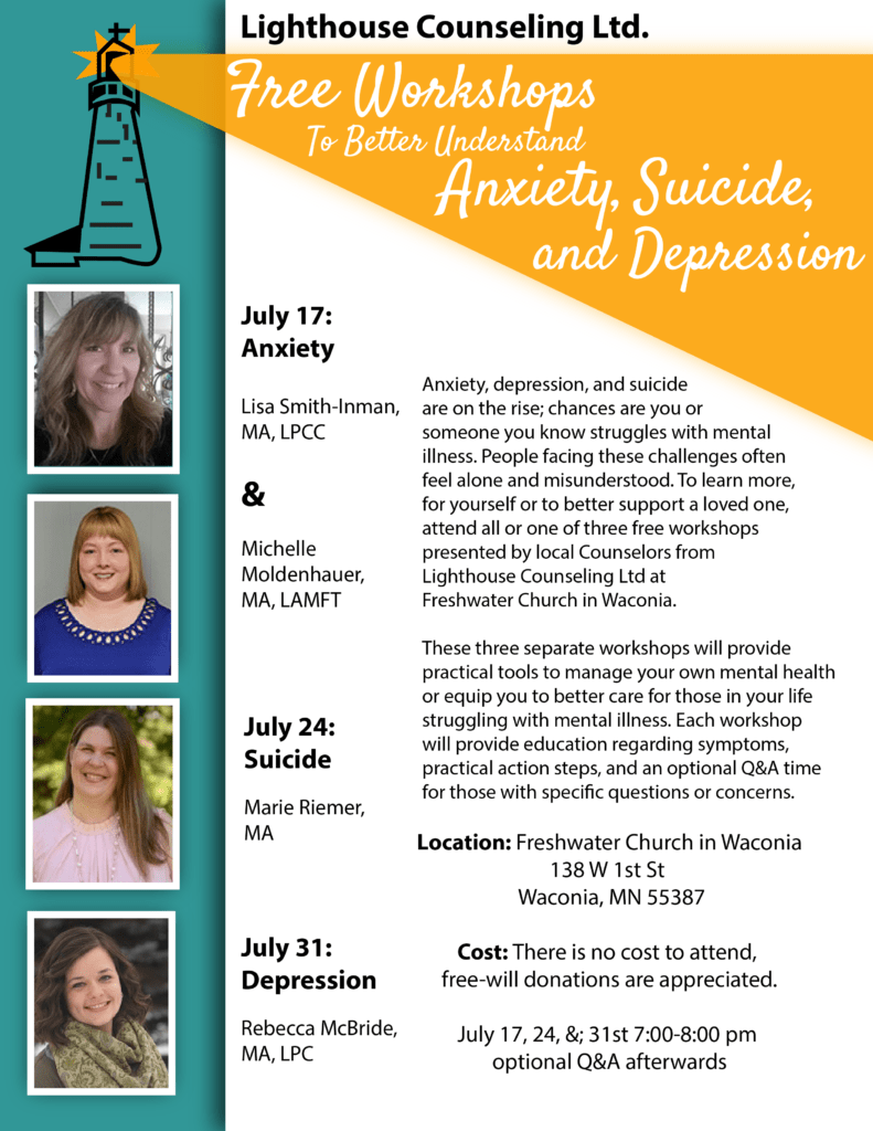 Free Workshops To Better Understand Anxiety, Suicide, and Depression Beginning July 17 2018